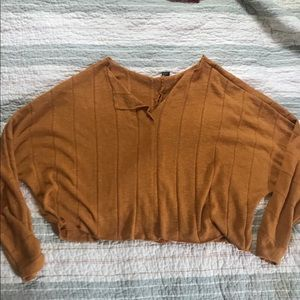 Comfy Cropped Mustard Sweater